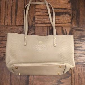 Real leather embossed tote by Gigi New York